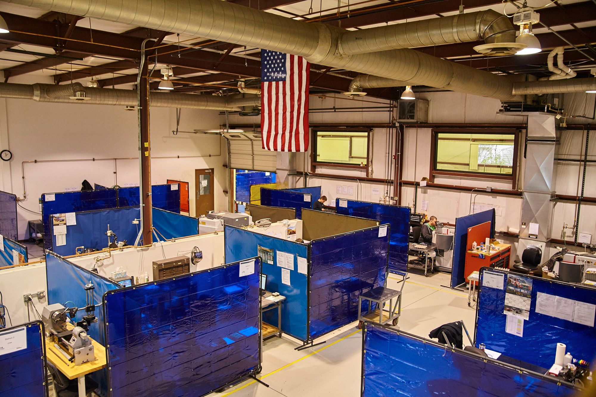 Inside the Fort Wayne facility, clean and lab-quality welding setup